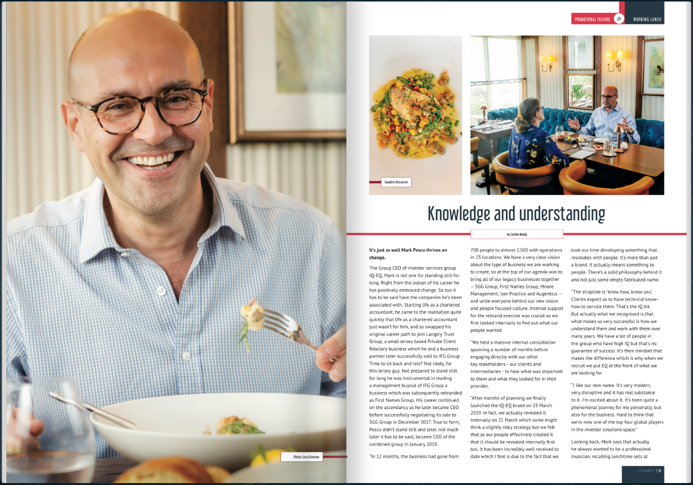 Mark Pesco - CONNECT 'Working Lunch' interview - magazine spread