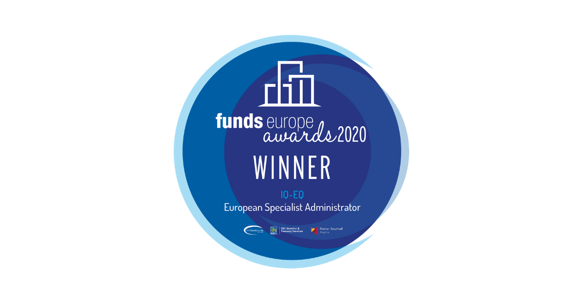 IQ-EQ named as 'European Specialist Administratorof the Year' in 2020 Funds Europe Awards